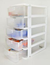 5 Gaveteiro Branco Grande C/ 5 Gavetas - Caixa Organizadora